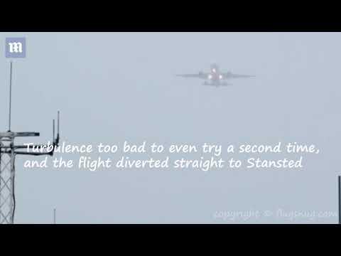 экстремальная посадка в условиях урагана огромного лайнера A380 в Великобритании