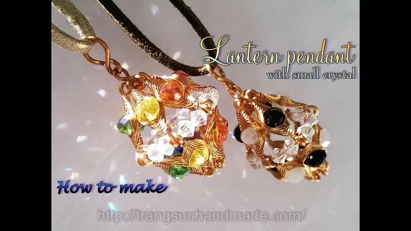 Lantern pendant with small crystal - Herringbone wire wrap bead 391