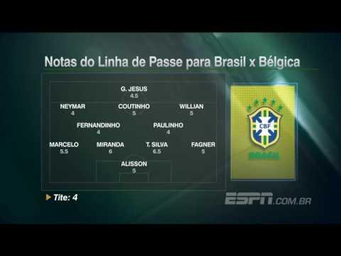 Brasil x Bélgica veja as notas do Linha de Passe para os jogadores da seleção brasileira