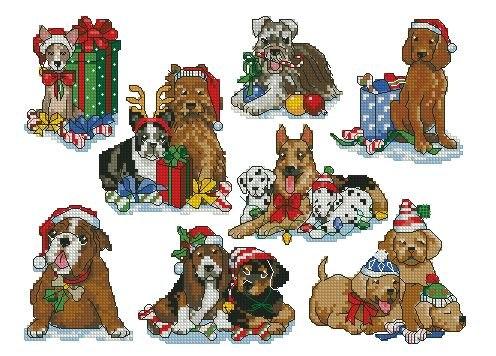 Новогодние собачки, вышивка :)