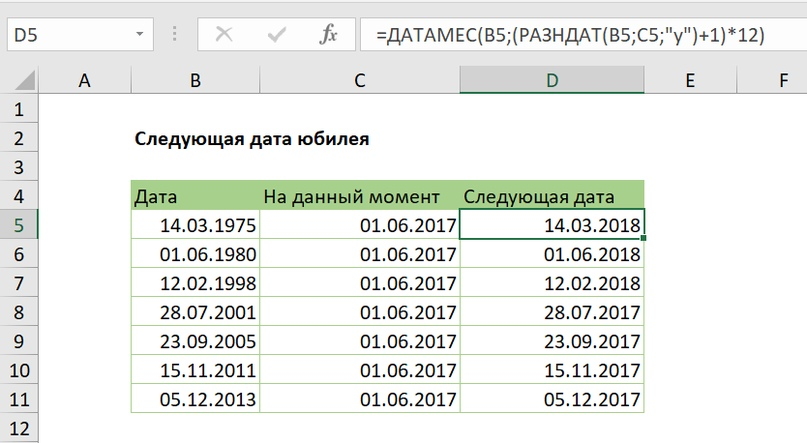 Следующая дата юбилея