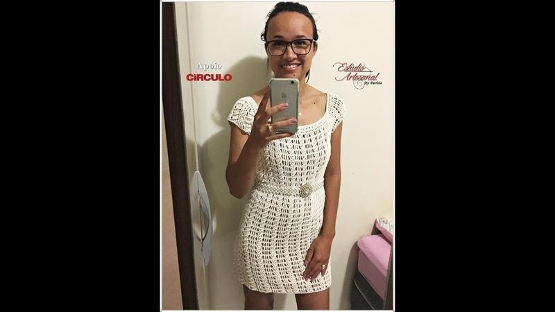 Vestido em croche tamanho M moda evangelica (aula exclusiva)