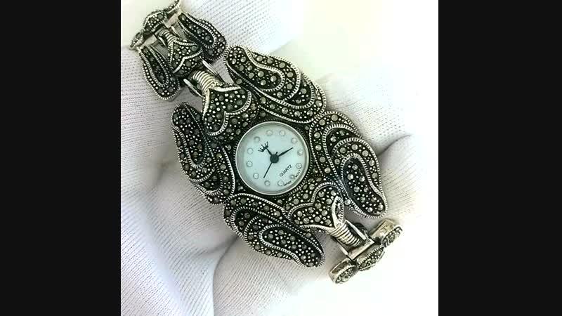 Шикарные Серебряные Женские Часы Слон С Натуральным Марказитом