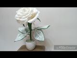Белая роза ажур. зелёный