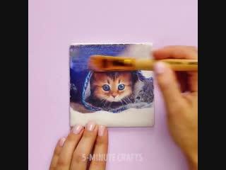 Котик красками