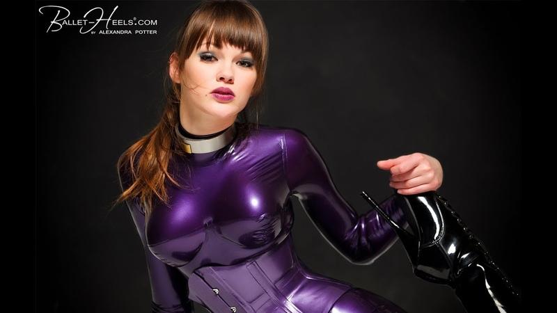 Purple latex and high heels