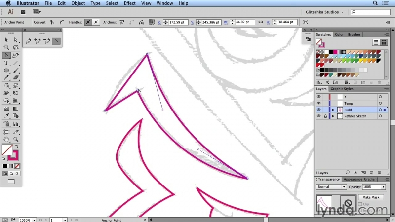 Lynda - Artist at Work - Native American Tribal Illustration 009 Creating the face in vectors