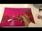 2 Вишневый закат. Лессировка акрилом. Glazing in acrylic Tatjana Baker