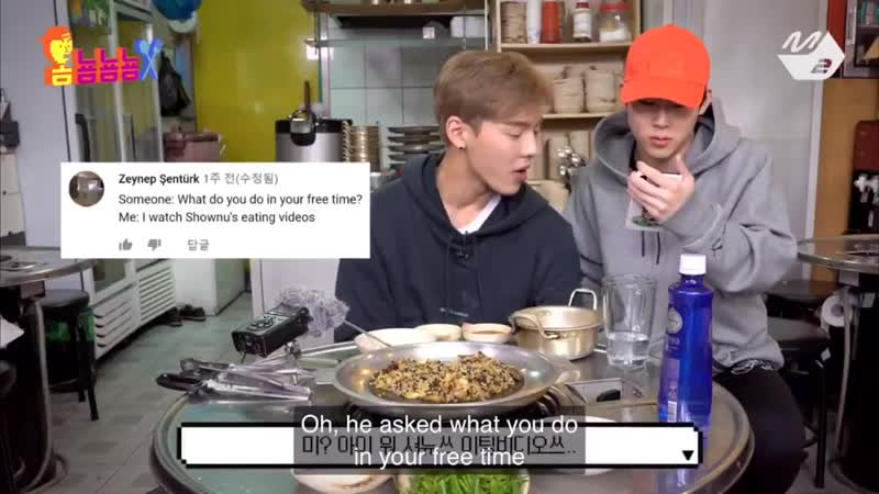 Jooheon reading out an english comment in stan twitter format and translating it for shownu. love this matrix glitch\cr. stillwa