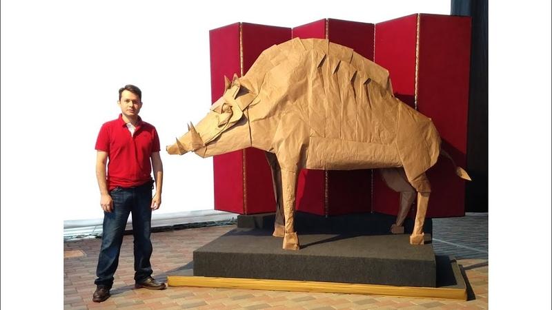 ORIGAMI GIANT THE DIVINE BOAR - PROCESS (Satoshi Kamiya) 折り紙 猪 イノシシ Jabalí gigante Year 2019