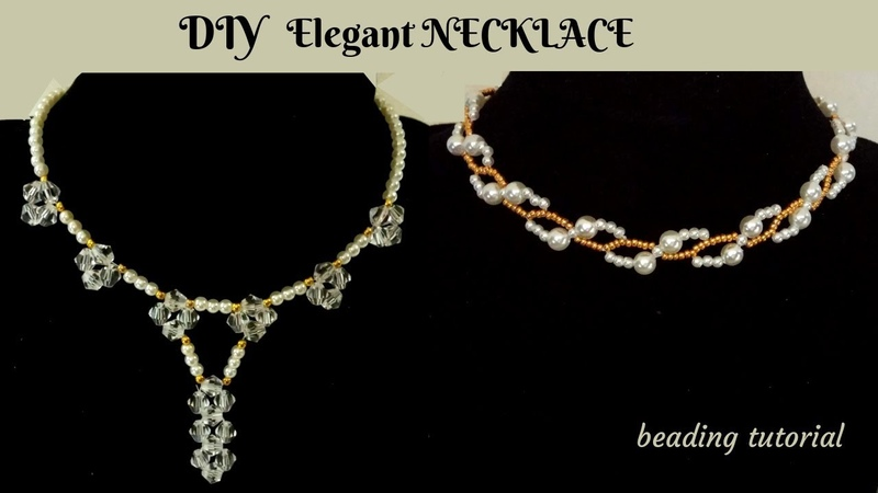 Beaded Necklace. How to make elegant necklace. Beading pattern for DIY Jewelry