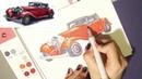 Рисуем красное ретро авто набором SKETCHMARKER Basic 4 set 24