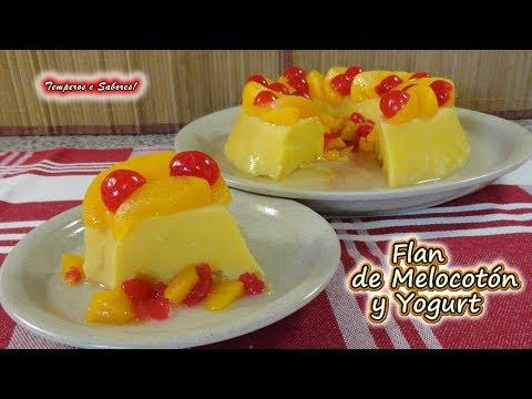 FLAN DE MELOCOTÓN Y YOGURT, sin gluten, sin horno, fácil y delicioso