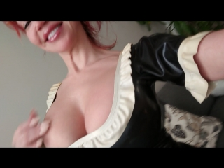 """Bianca beauchamp - im dressed up as a naughty latex maid and ready to pussy fuck this 10"""" dildo cock. to get the uncut and uncen"""