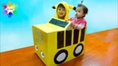 The wheels on the bus song from Xavi pretend play with school bus cardboard box