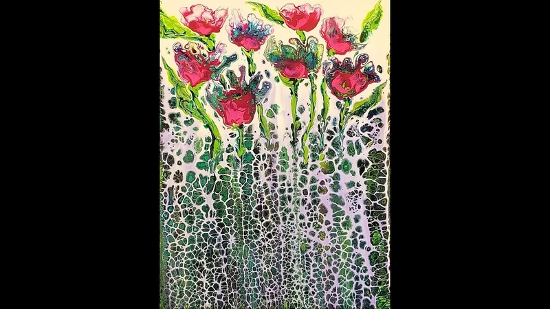 DA69 Acrylic Swipe w/ White Peacock Colors into Fantasy Garden with Sandra Lett 053118