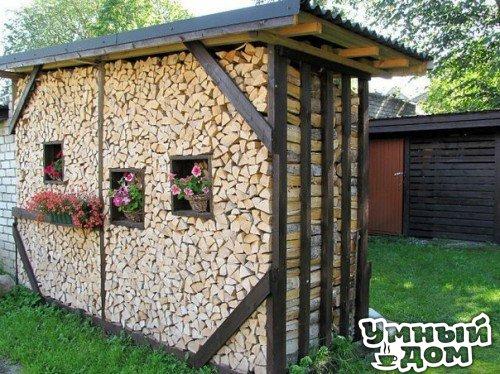 Творческий подход к укладыванию дров!!! - Украшаем все вокруг!!!