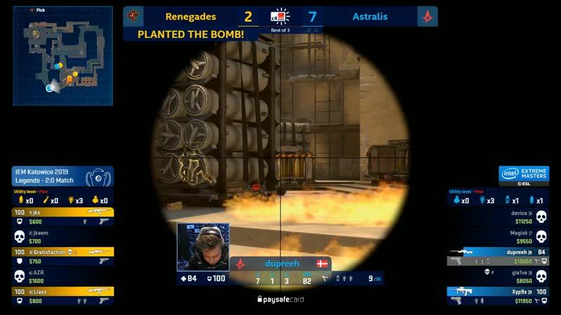 Renegades. Mirage. Gratisfaction ACE vs Astralis IEM Major Katowice 2019 Legend Stage