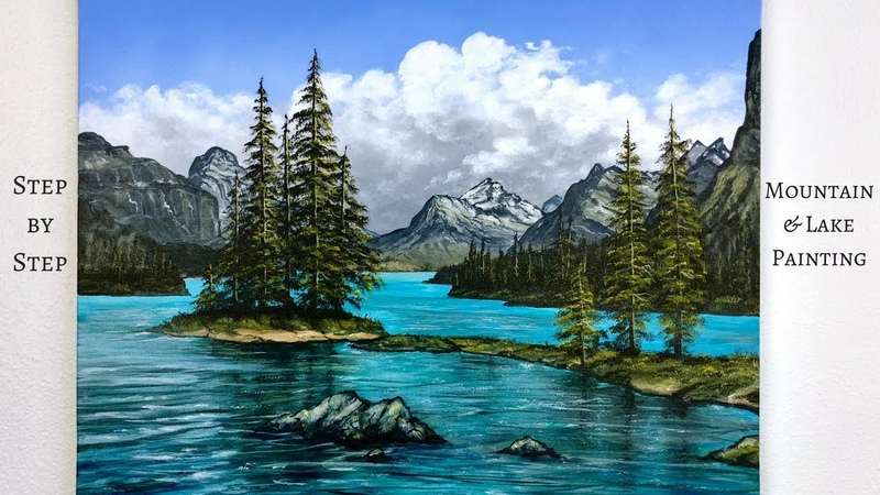 Mountain Lake STEP by STEP Acrylic Painting Tutorial ColorByFeliks