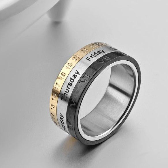 Стильное кольцо календарь -