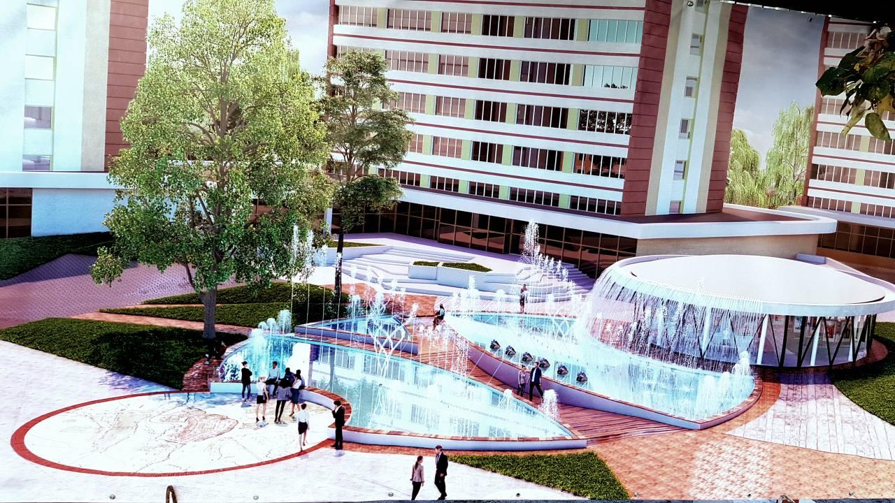 Как дела на строительстве фонтана на ул. Советской у кинотеатра Беларусь?