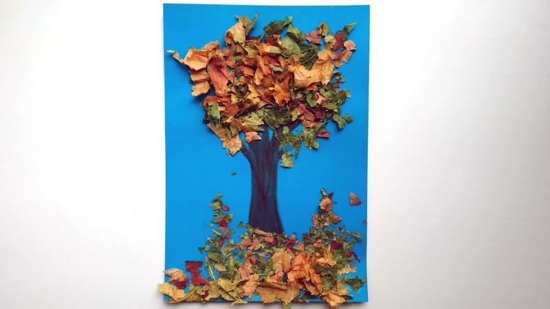 Аппликация из листьев Осеннее дерево. Поделки на тему осень в садик или школу.