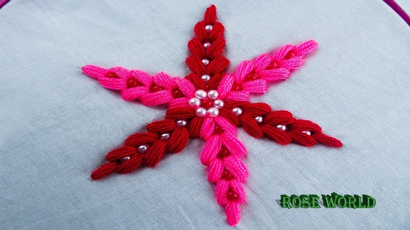How to sew flower|learn to sew work|hand embroidery flower sewing tutorial by rose world