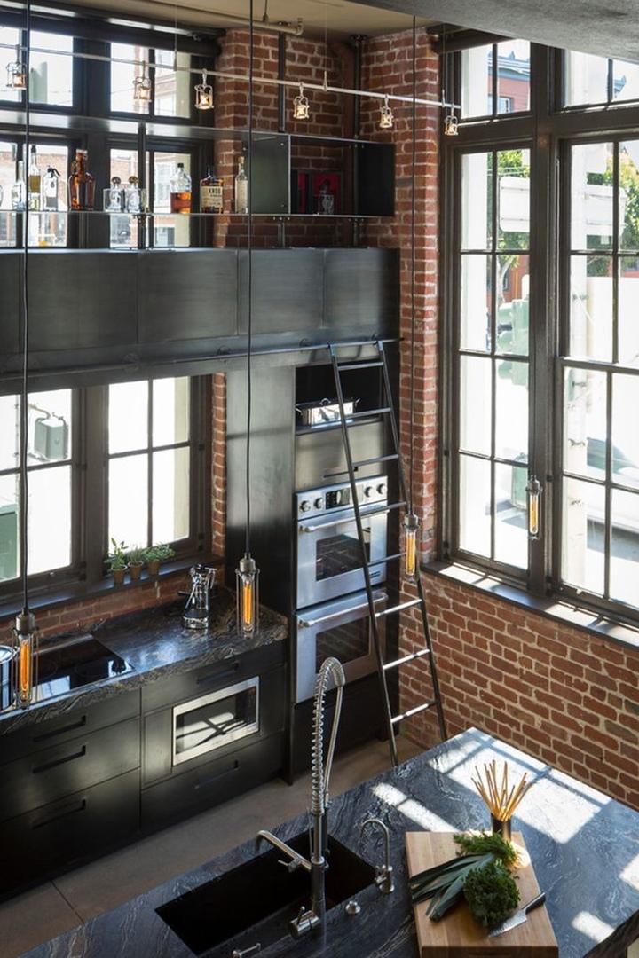 Лофт в интерьере кухни.