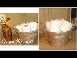 DIY Dollar Tree Rope Basket Bathroom Organization Tissue Holder Chanelle Novosey