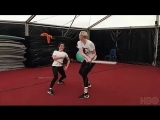 Maisie Williams and Gwendoline Christie rehearsing for their fight.