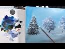Елки в снегу акрилом. Урок 3. Бесплатный МК