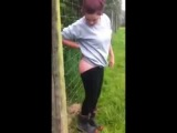 Teen Girl electric fence challenge part 2