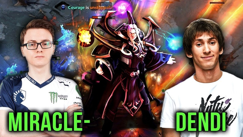One of the World's Best Invoker Players on EPIC Mid Battle Invoker - Miracle- vs Dendi Dota 2