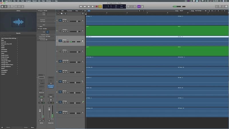 Триггирование барабанов в Logic Pro.