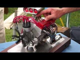 Мини 4х тактный V8 двигатель Супер звук