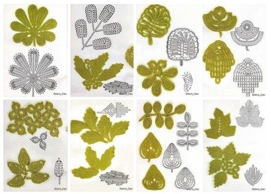 Листья и листочки крючком!