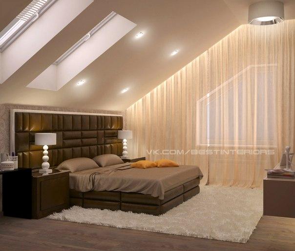 Спальня в мансарде. (4 фото) - картинка