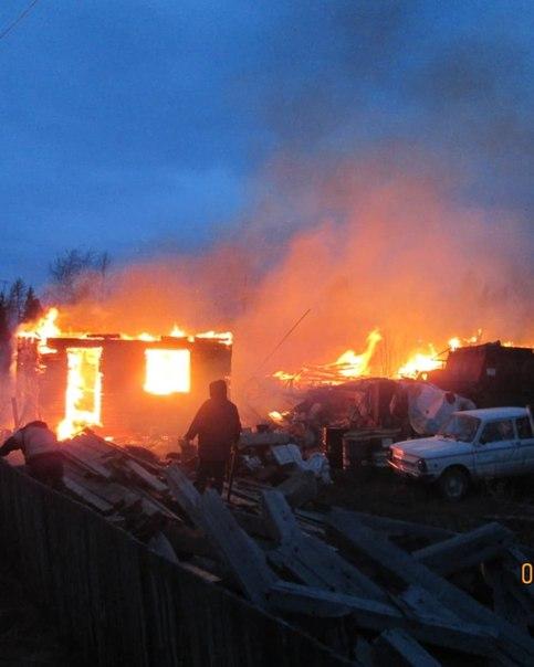 Пожар в п. Железнодорожный на ул. Вербная