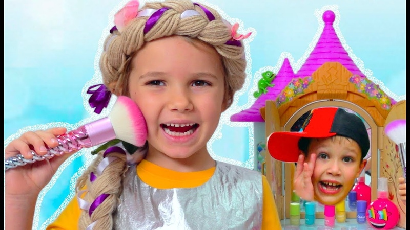 Make up для принцессы и ее лошади / Kids pretend play with Rapunzel doll and ride on toy horse