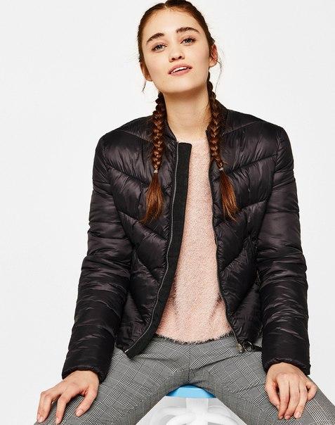 Стеганая куртка с круглым вырезом