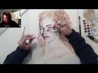 как рисовать акварелью кудрявые волосы