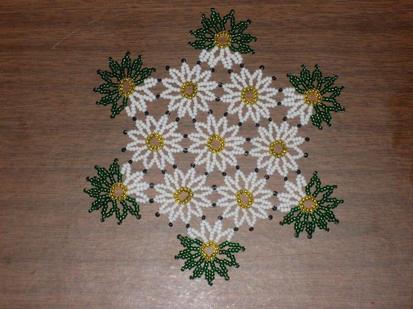 Плетение салфетки из бисера Красочный бисер.