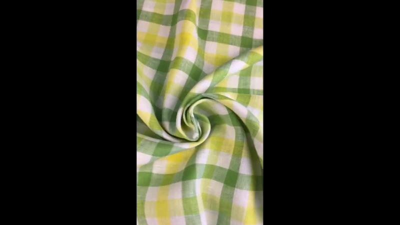 Льняная ткань для постельного белья в клетку