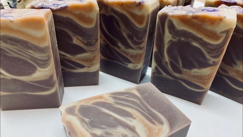 則皂工作室-蜜桃法國礦泥回鍋渲染皂peach scented French clay In pot swirl soap making and cutting