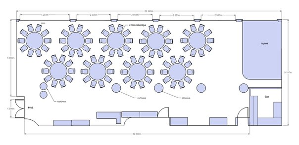 план расстановки столов на