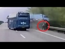 Chinese driver cheats death by INCHES as coach hits his broken down lorry at high speed