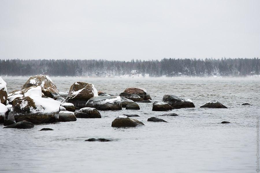Финляндия зима море залив Порвоо