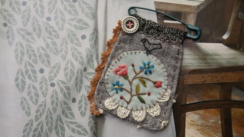퀼트 자수 브로치 만들기 │Hand Quilt Embroidery│Fabric Flower Pin Brooch│DIY Craft Tutorial