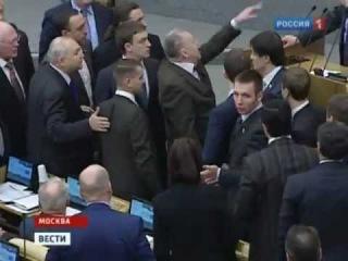 Жириновский орал и устроил драку в Госдуме 7 февраля 2012