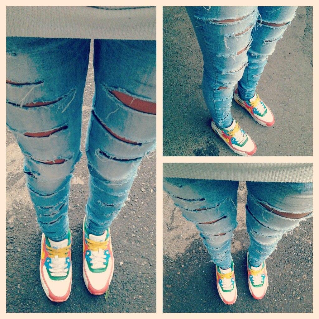 Как сделать рваные джинсы если порвалось в коленке 16
